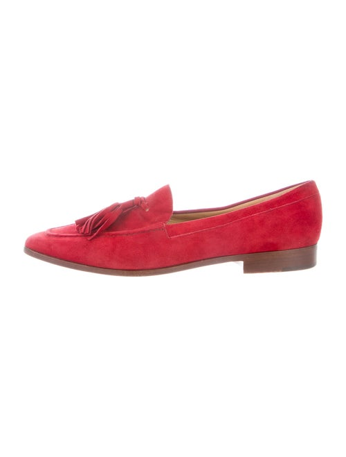 Gucci Suede Tassel Accents Loafers Red