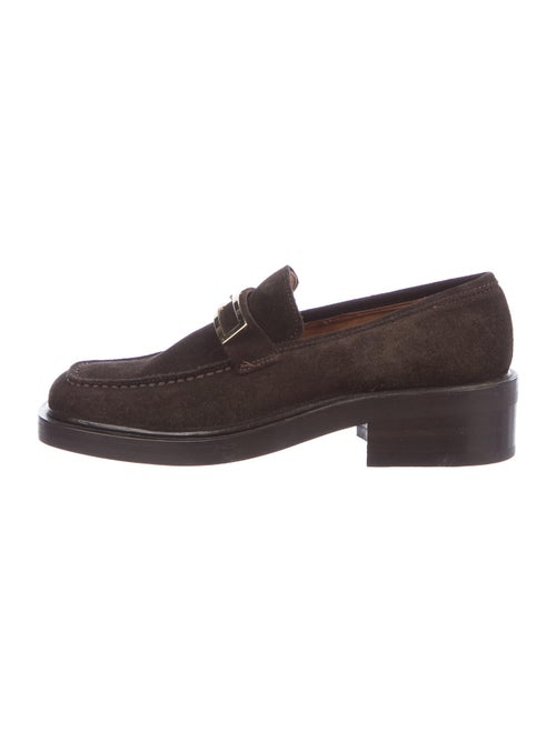 Gucci Signature Logo Suede Loafers Brown