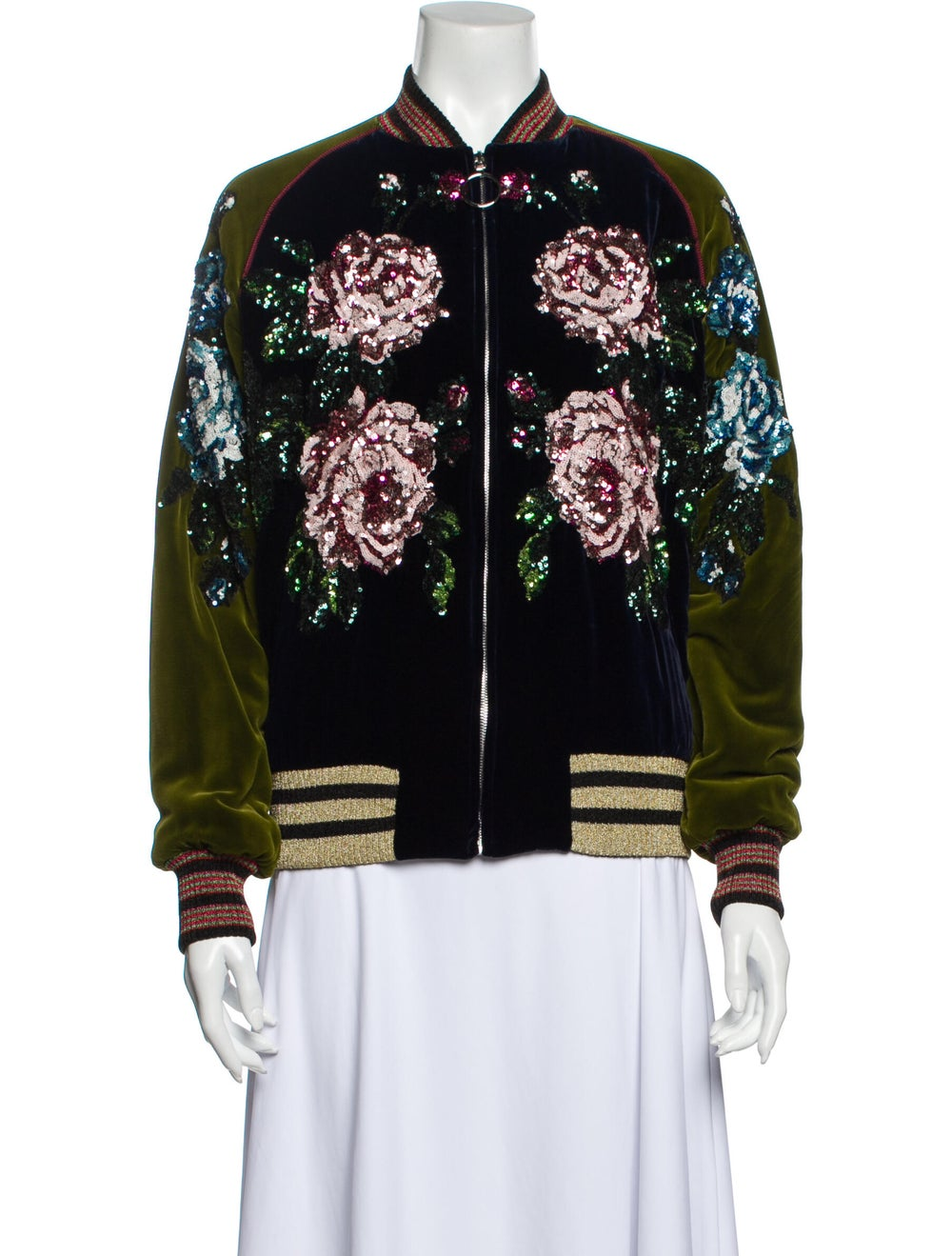 Gucci Floral Print Bomber Jacket w/ Tags Blue - image 1
