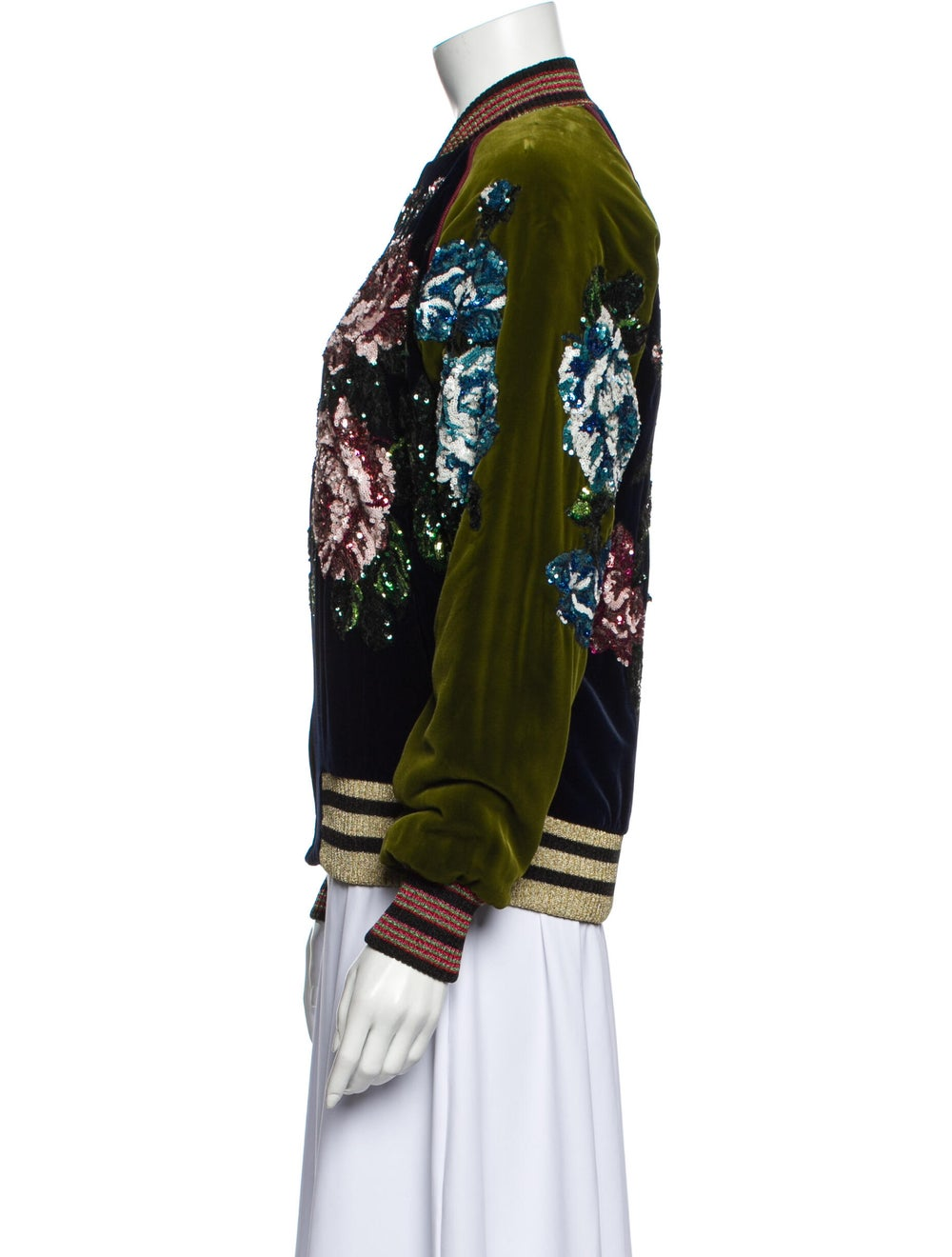 Gucci Floral Print Bomber Jacket w/ Tags Blue - image 2