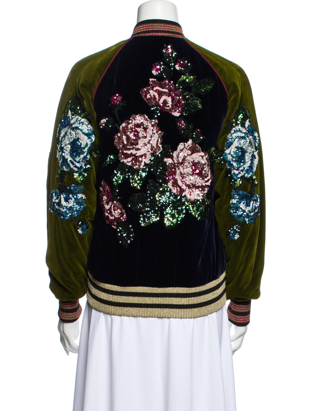 Gucci Floral Print Bomber Jacket w/ Tags Blue - image 3