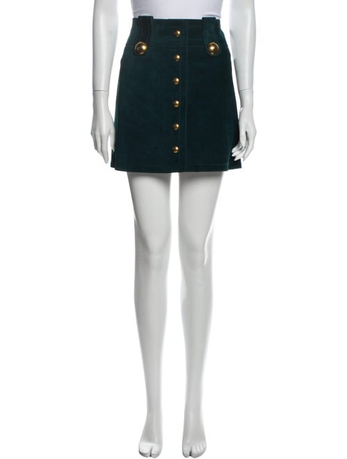 Gucci Leather Mini Skirt Green