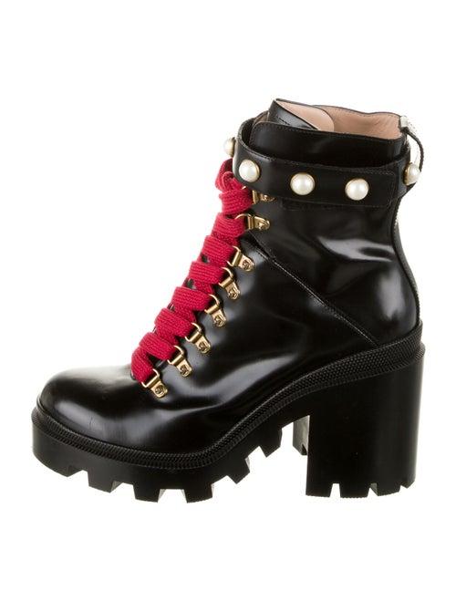 Gucci Trip Leather Combat Boots Black - image 1