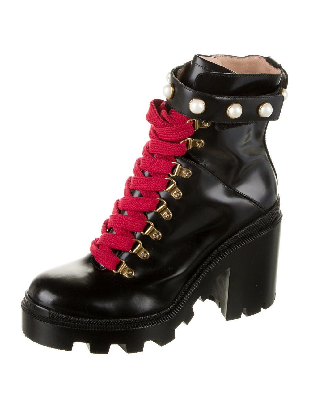 Gucci Trip Leather Combat Boots Black - image 2