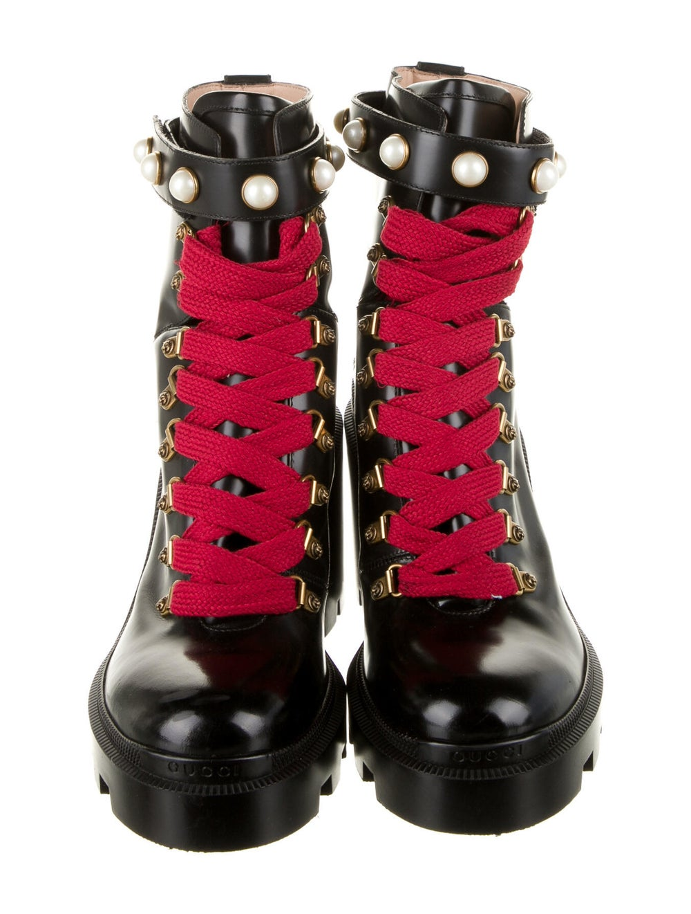 Gucci Trip Leather Combat Boots Black - image 3