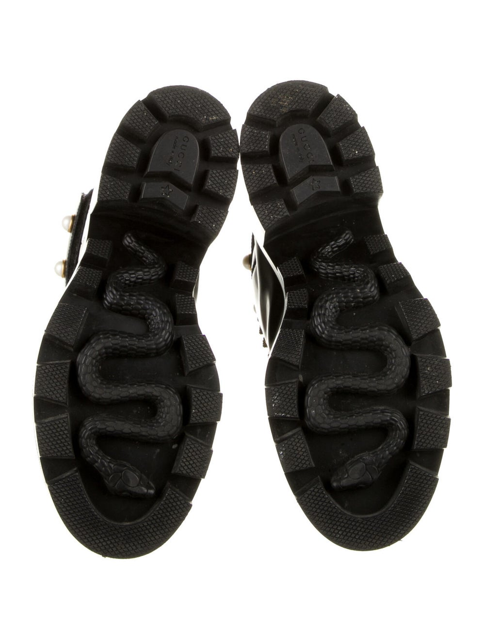 Gucci Trip Leather Combat Boots Black - image 5