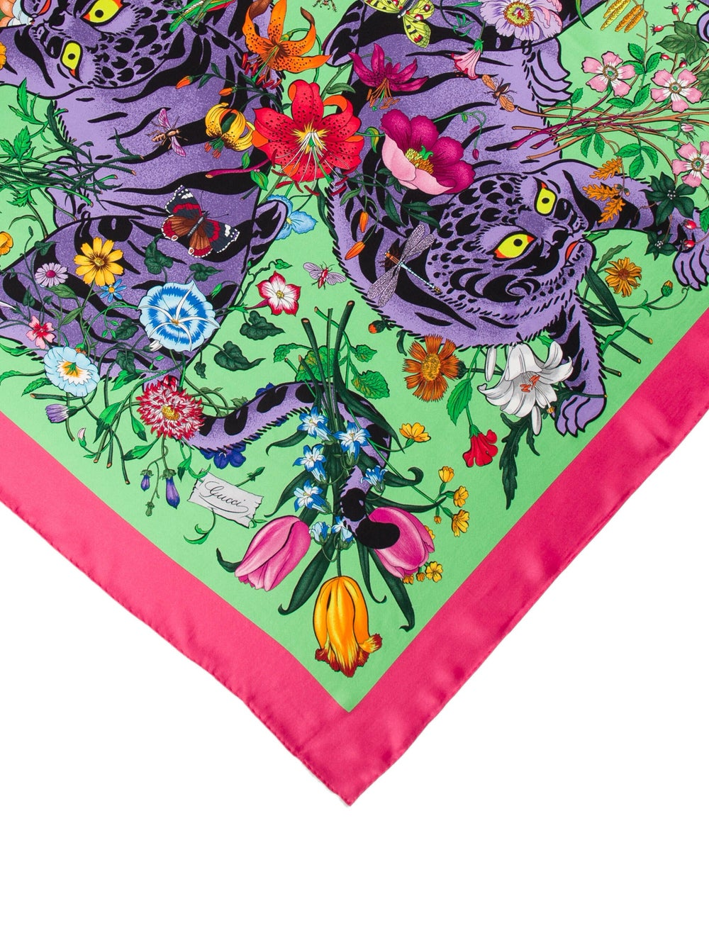 Gucci Floral Silk Scarf w/ Tags Pink - image 2