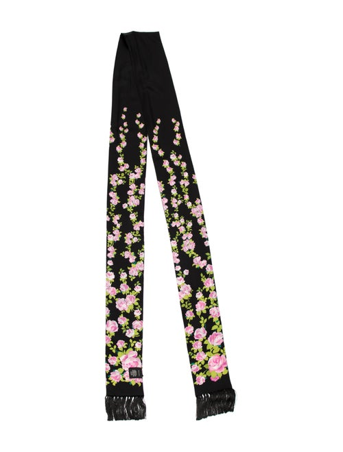Gucci Floral Fringe Scarf w/ Tags Black