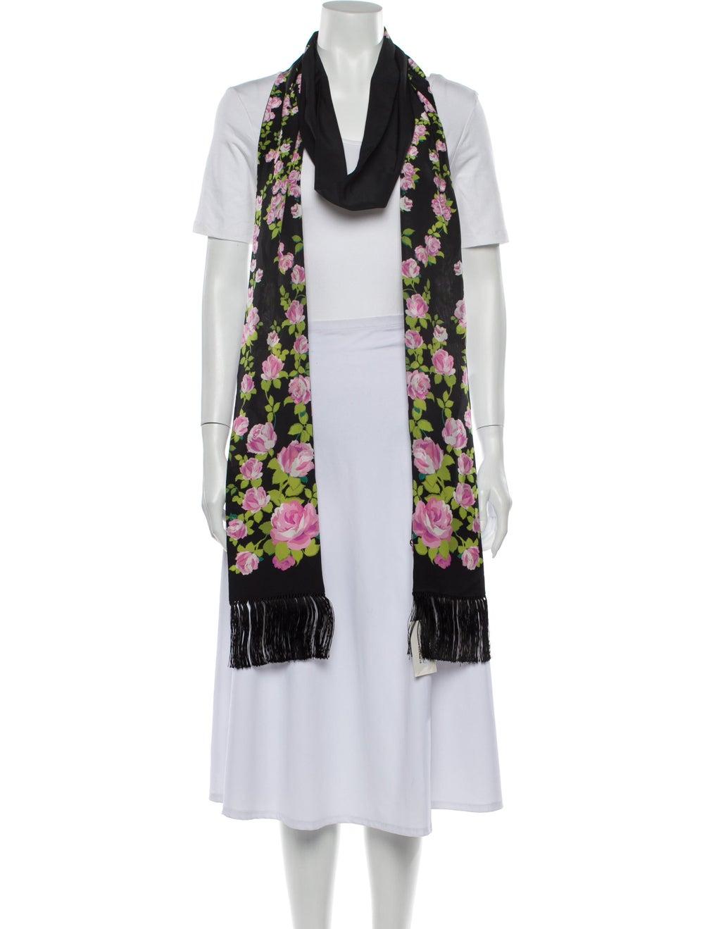 Gucci Floral Fringe Scarf w/ Tags Black - image 3