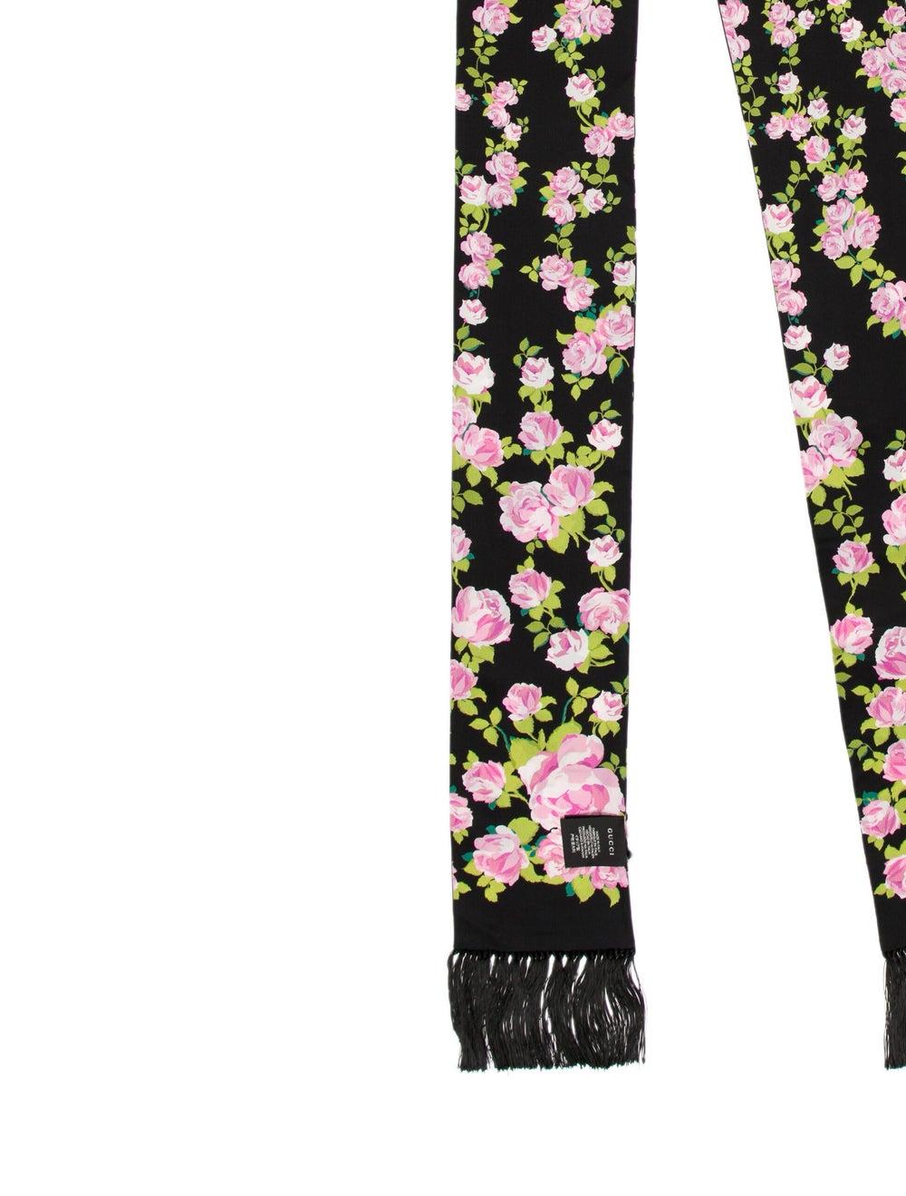 Gucci Floral Fringe Scarf w/ Tags Black - image 2