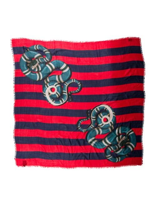 Gucci Kingsnake Wool-Silk Shawl w/ Tags red