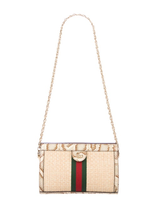 Gucci 2019 Small Straw Ophidia Shoulder Bag Gold
