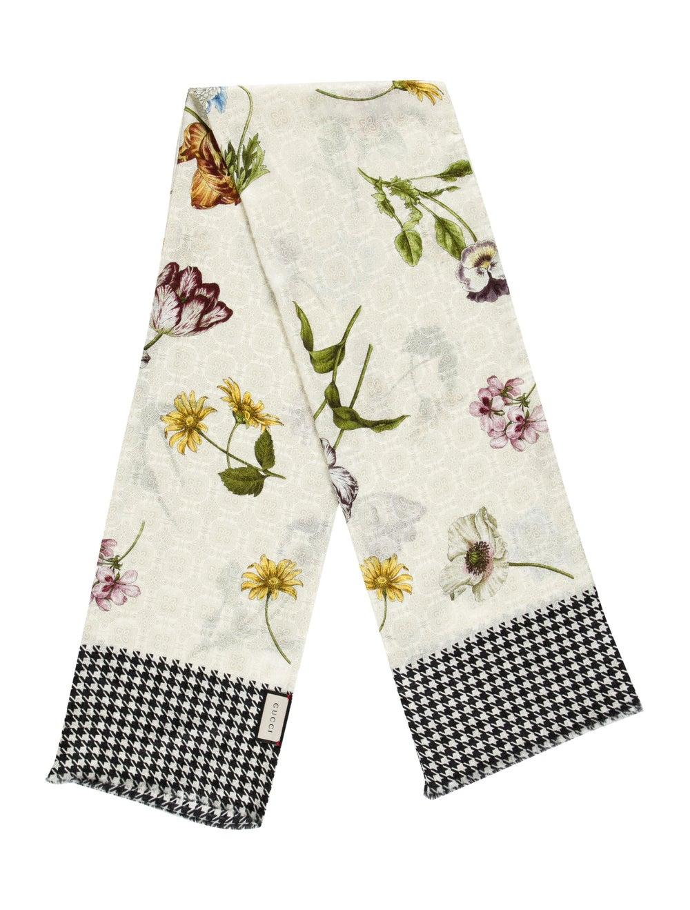 Gucci Floral Print Silk-Blend Scarf w/ Tags multi… - image 1