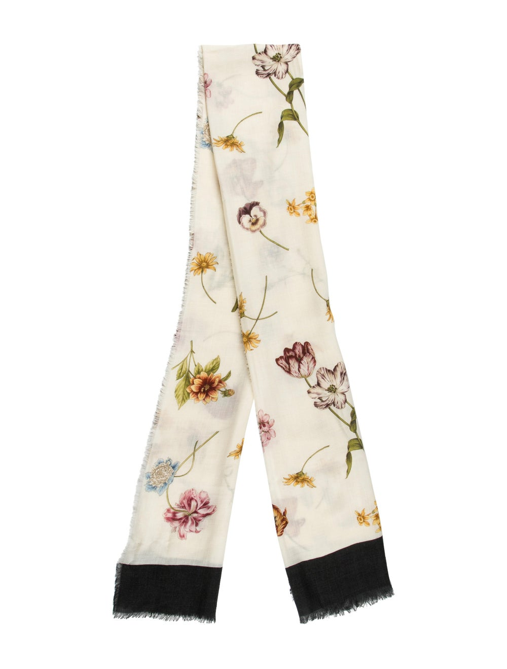 Gucci Floral Print Wool Scarf w/ Tags multicolor - image 1