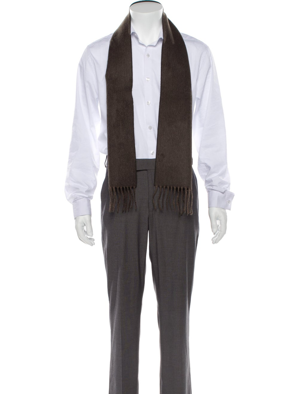 Gucci Fringe-Trimmed Cashmere Scarf w/ Tags brown - image 3