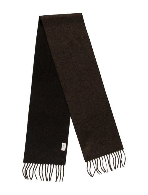 Gucci Fringe-Trimmed Cashmere Scarf w/ Tags brown