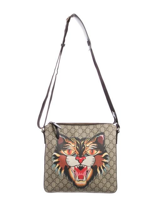 Gucci GG Supreme Angry Cat Messenger Bag tan