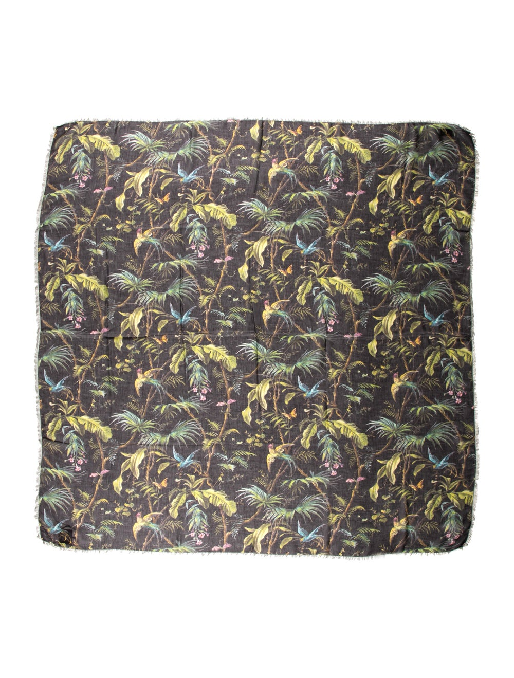 Gucci Wool-Blend Floral Scarf w/ Tags Black - image 1