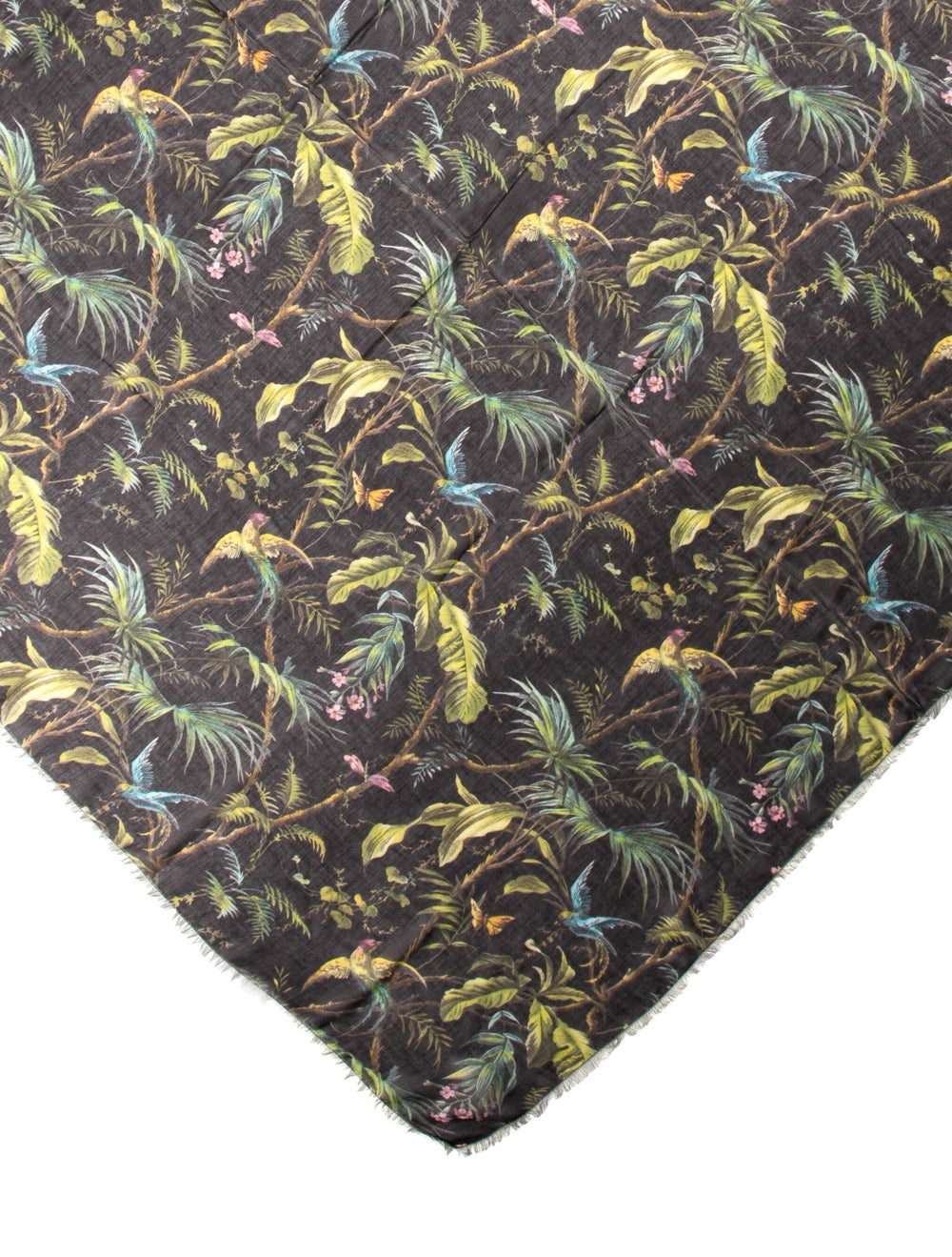 Gucci Wool-Blend Floral Scarf w/ Tags Black - image 2