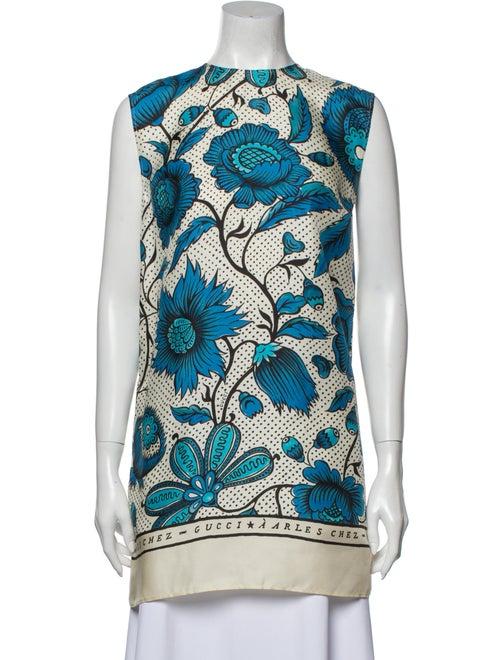 Gucci Silk Floral Print Tunic Blue - image 1