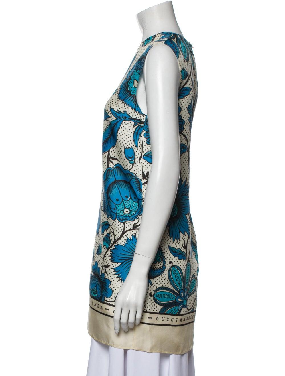 Gucci Silk Floral Print Tunic Blue - image 2