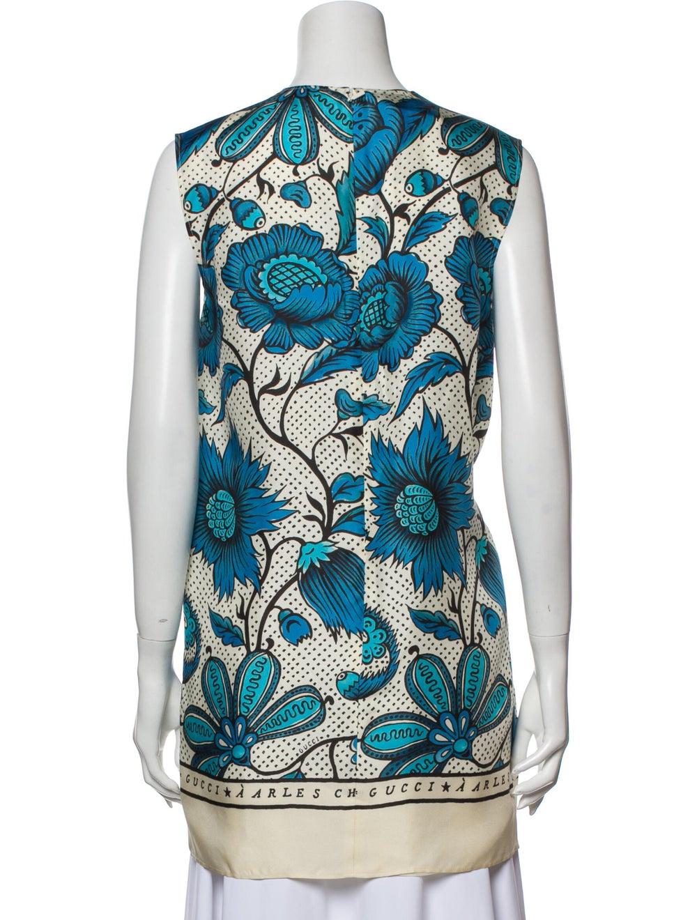 Gucci Silk Floral Print Tunic Blue - image 3