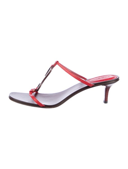 Gucci Karung T-Strap Sandals Red
