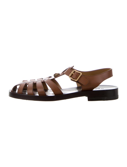 Gucci Kingsnake Leather Sandals Brown
