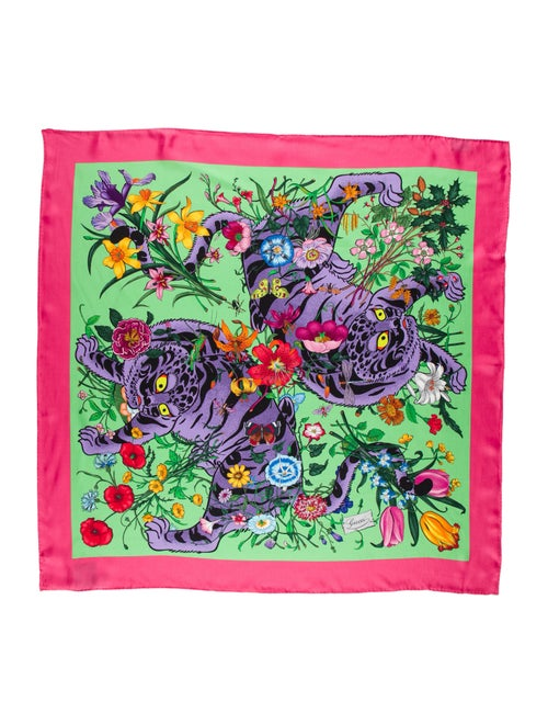 Gucci Floral Silk Scarf w/ Tags Pink - image 1
