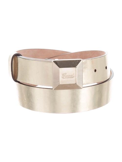 Gucci Metallic Logo Belt Metallic