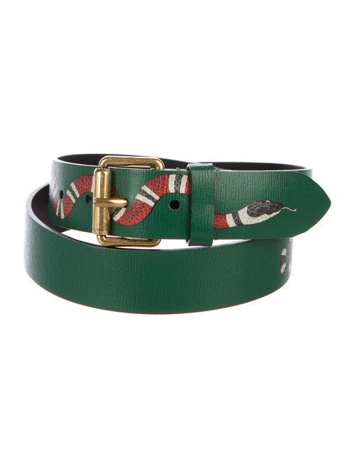 Gucci Kingsnake Leather Belt Green