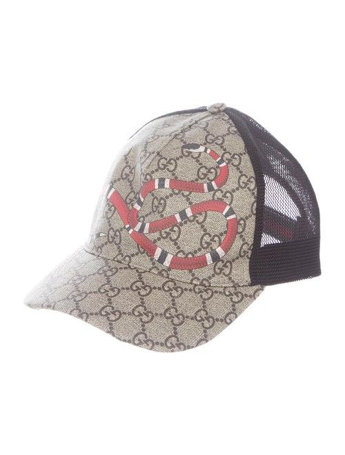 Gucci Kingsnake Print GG Supreme Baseball Cap Beig