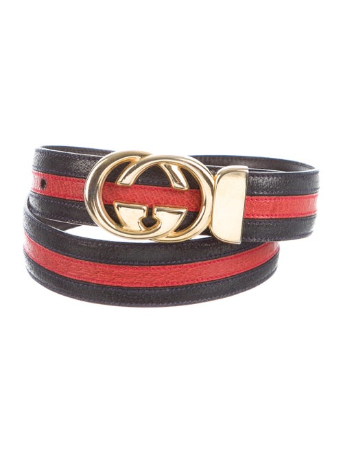 Gucci Web Leather Belt Navy