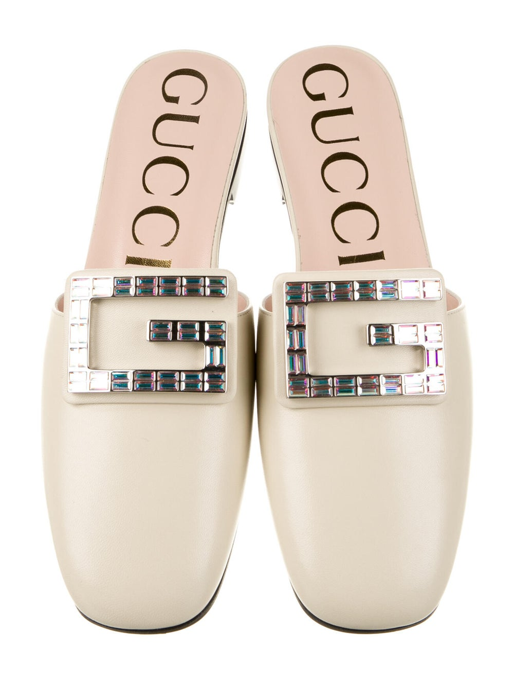 Gucci Leather Crystal Embellishments Mules - image 3