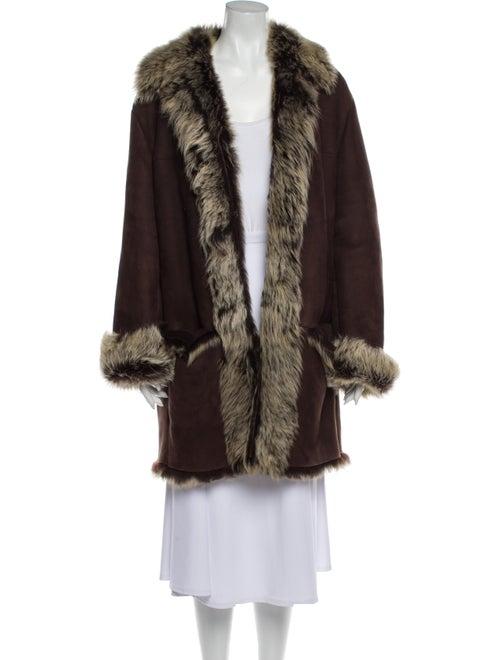 Gucci Shearling Fur Coat Brown