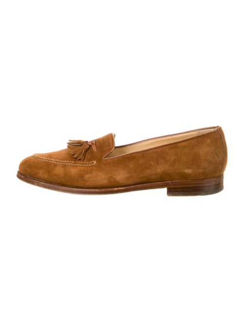 Gucci Suede Tassel Accents Loafers Brown