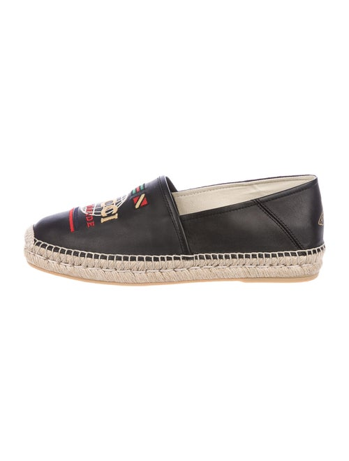 Gucci Worldwide Flag Leather Espadrilles Black