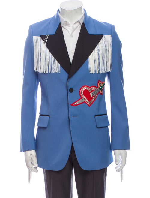 Gucci 2016 Appliqué Blazer Blue