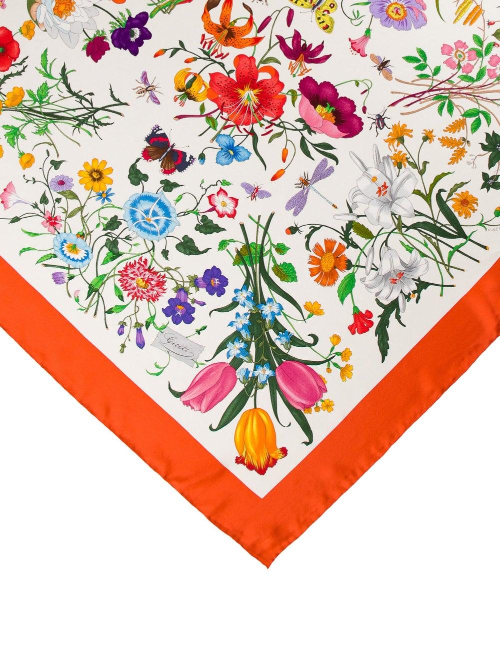 Gucci Silk Floral Print Scarf - image 2