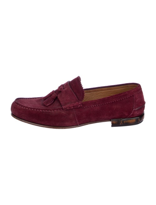 Gucci Bamboo Suede Loafers Red