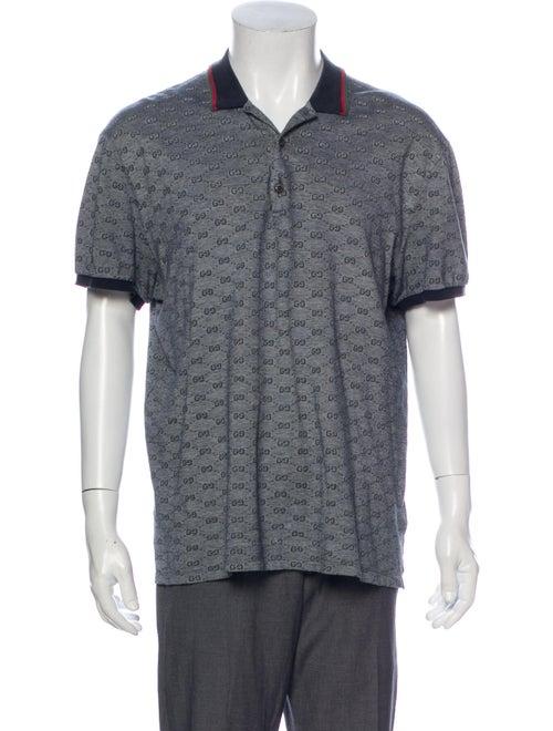 Gucci MicroGG Patterned Polo Shirt Grey