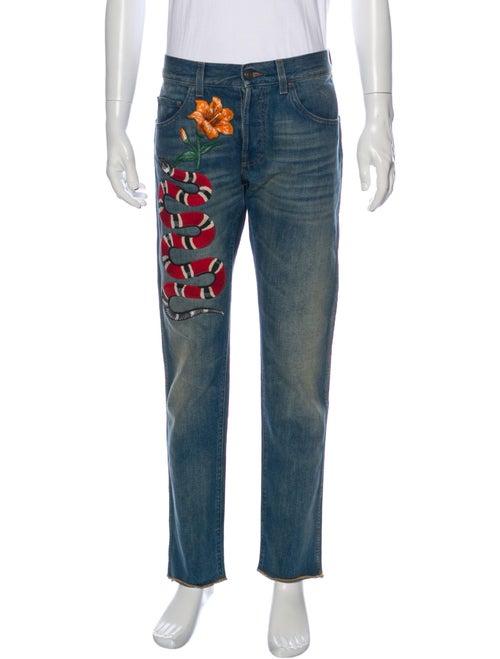 Gucci Kingsnake Straight-Leg Jeans Blue
