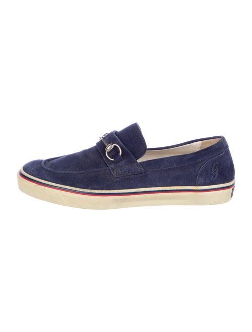 Gucci Horsebit Accent Suede Boat Shoes Blue