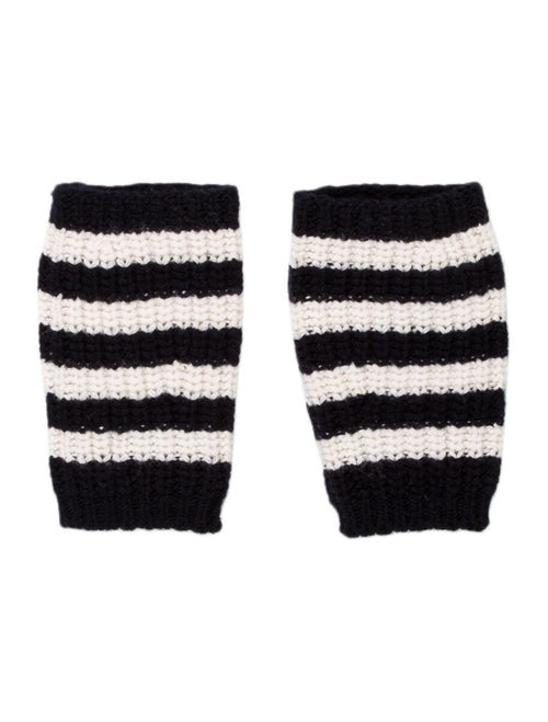 Gucci Striped Fingerless Gloves white