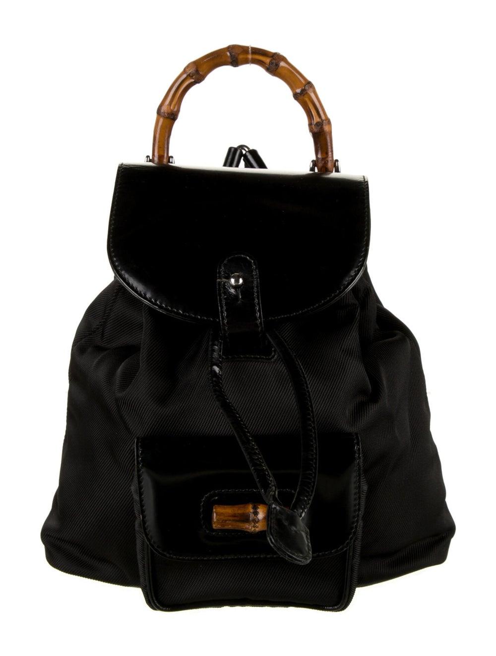 Gucci Vintage Nylon Bamboo Backpack Black - image 1