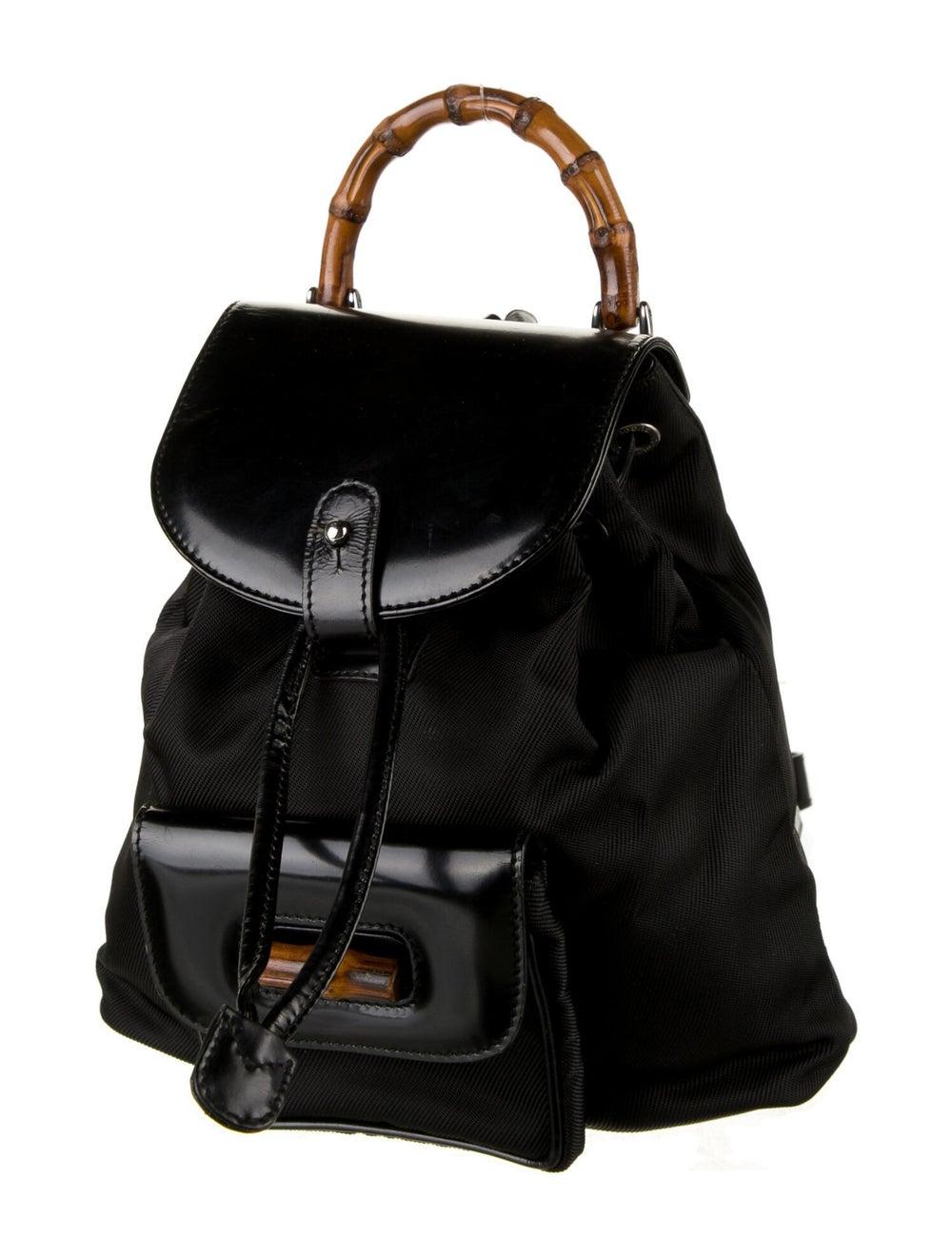 Gucci Vintage Nylon Bamboo Backpack Black - image 2