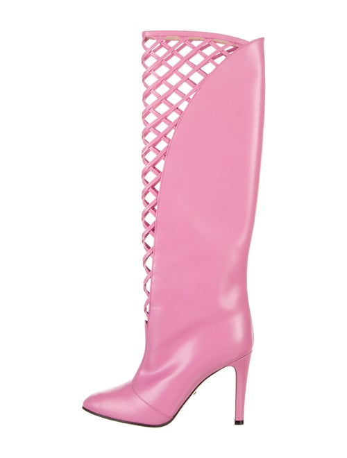 Gucci Lattice Leather Boots Pink
