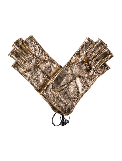Gucci Fingerless Leather Gloves w/ Tags Metallic