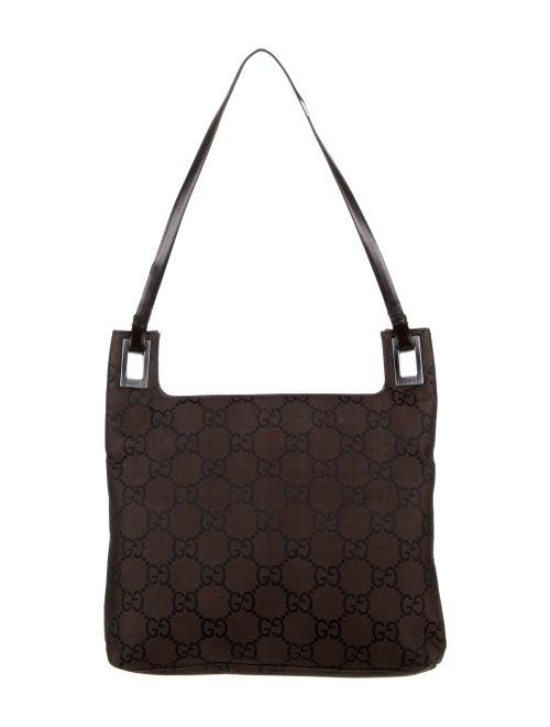 Gucci Vintage GG Nylon Shoulder Bag Brown