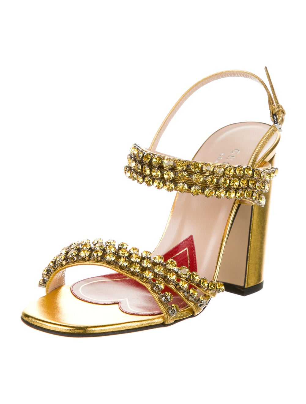 Gucci Leather Crystal Embellishments Sandals Gold - image 2